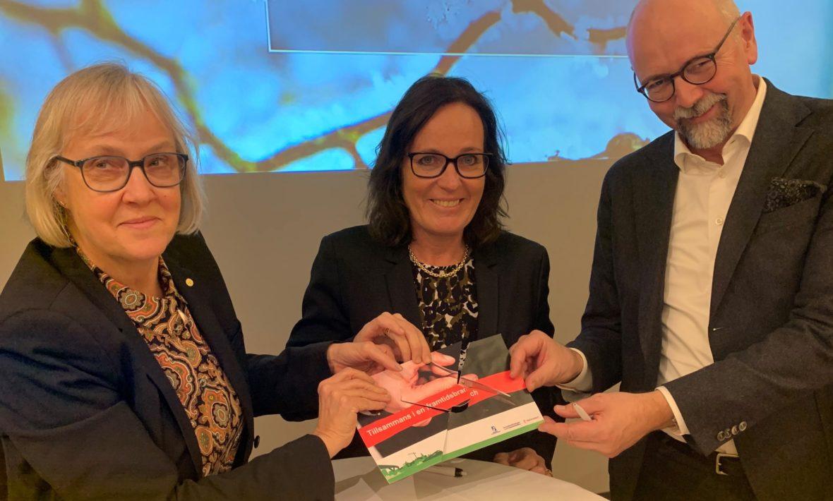 Anläggninsforum 2019. Lena Erixon, Trafikverket, Catharina Elmsäter-Svärd, Sveriges Byggindustrier, Magnus Höij, Innovationsföretagen.